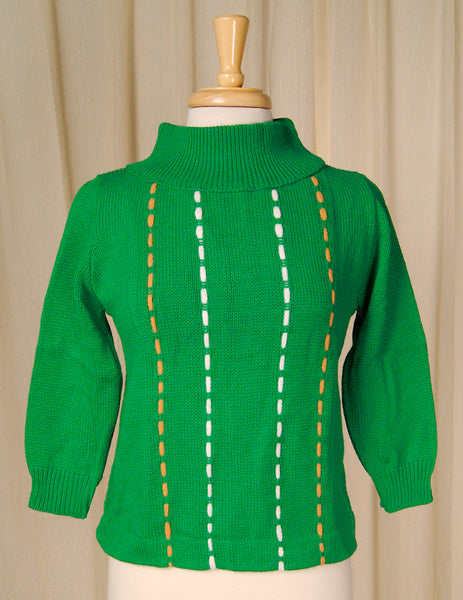 1960s Green Chunky Sweater by Vintage Collection by Cats Like Us : Cats Like Us