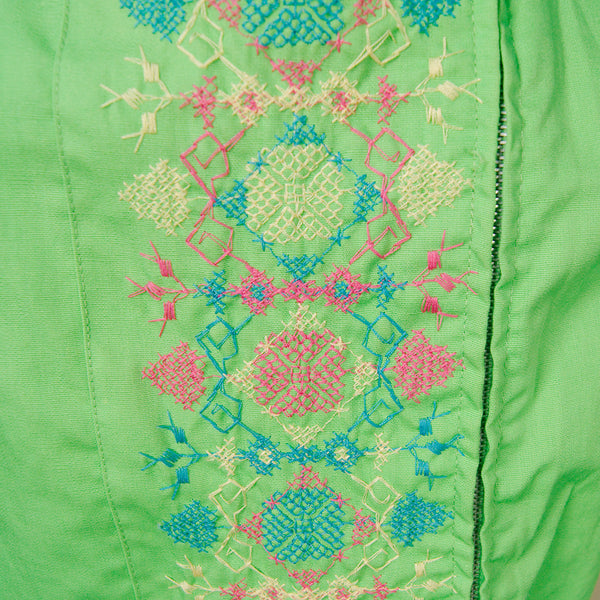 1960s Green Embroidered Romper by Cats Like Us - Cats Like Us