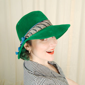 1960s Green Feather Fedora Hat by Cats Like Us - Cats Like Us