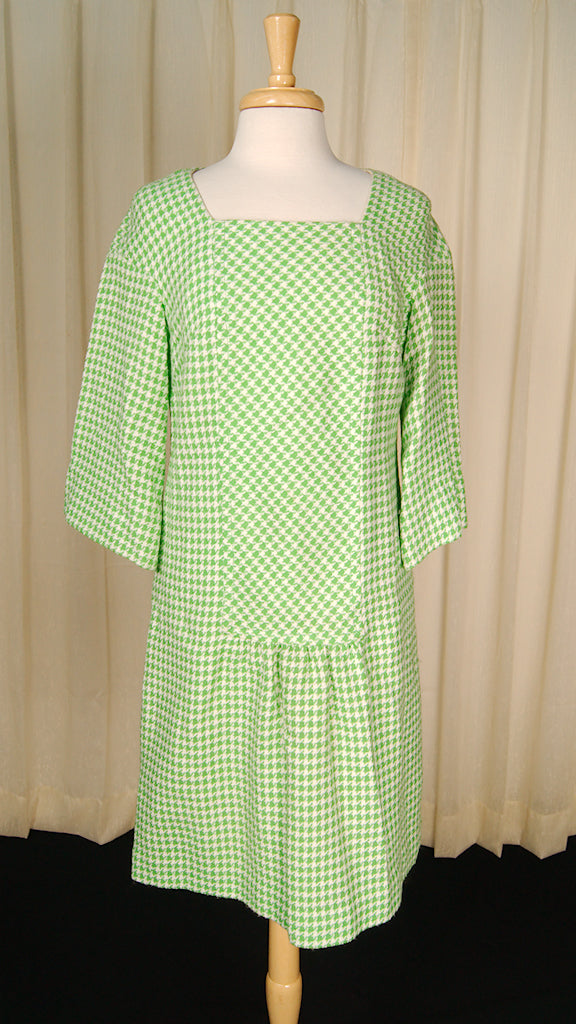 1960s Green Houndstooth Dress by Cats Like Us - Cats Like Us