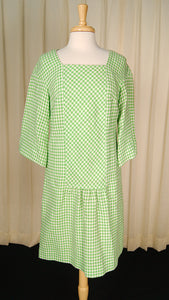 1960s Green Houndstooth Dress