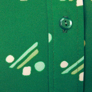 1960s Green Lines & Dots Blouse - Cats Like Us