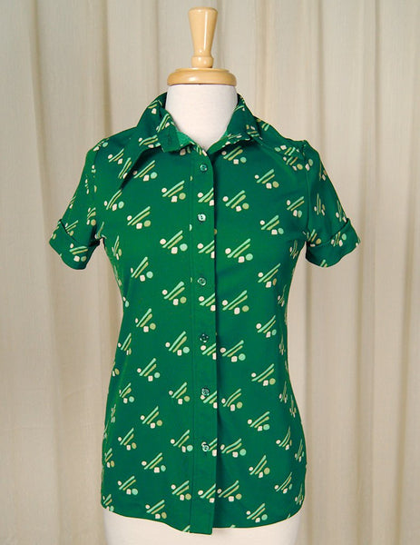 1960s Green Lines & Dots Blouse