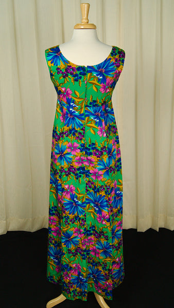 1960s Green Maxi Tiki Dress by Vintage Collection by Cats Like Us - Cats Like Us