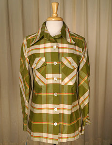 1960s Green Plaid Western Shirt by Cats Like Us - Cats Like Us
