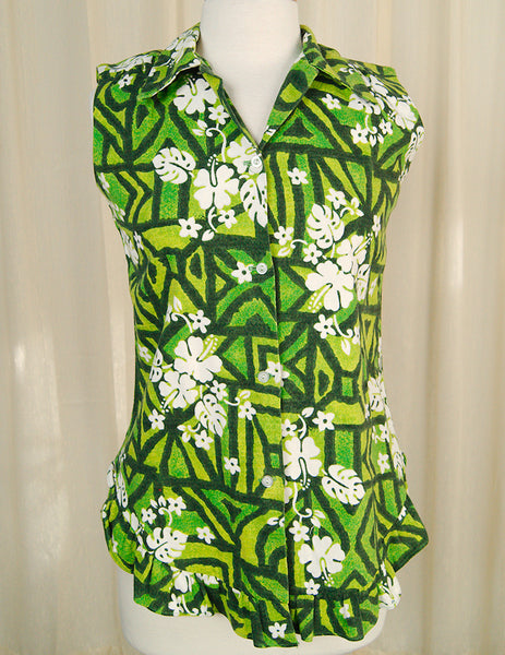 1960s Grn Hibiscus Ruffle Shirt by Cats Like Us - Cats Like Us
