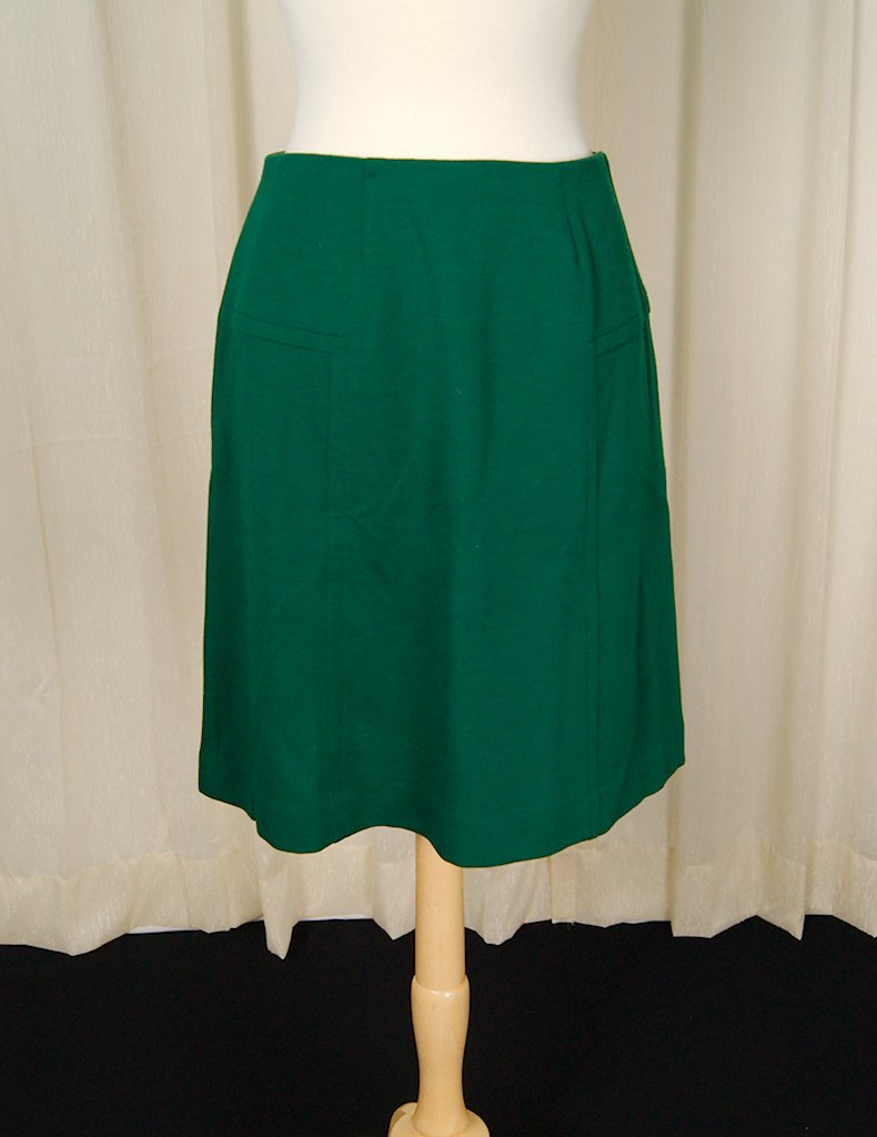 1960s Hunter Green A-Line Skirt