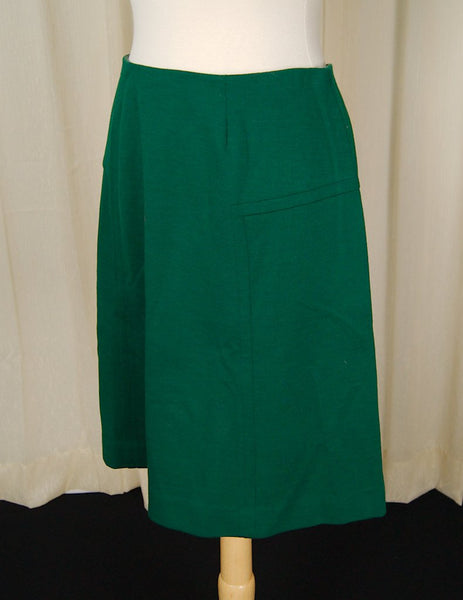 1960s Hunter Green A-Line Skirt - Cats Like Us