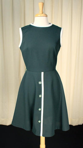 1960s Hunter Green Mod Dress