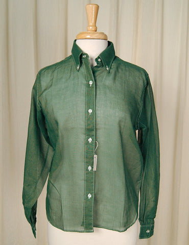 1960s Hunter Green Shirt - Cats Like Us