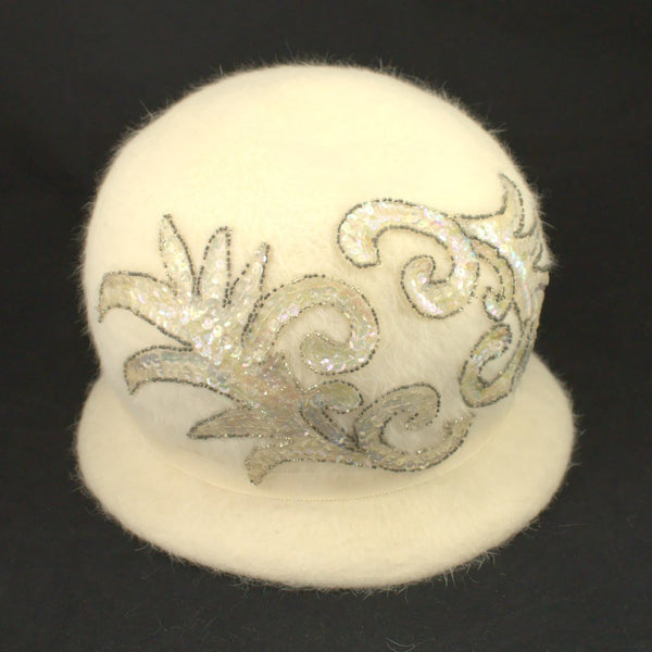 1960s Ivory Sequin Bubble Hat - Cats Like Us