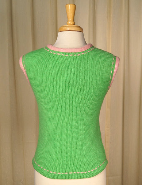 1960s Lime & Pink Sweater Vest