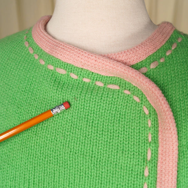 1960s Lime & Pink Sweater Vest by Cats Like Us - Cats Like Us