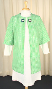 1960s Vintage Lime Chevron Dress Set