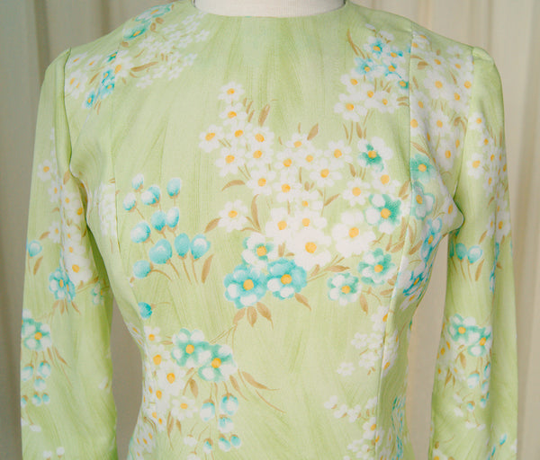 1960s Lime Floral Dress by Cats Like Us - Cats Like Us