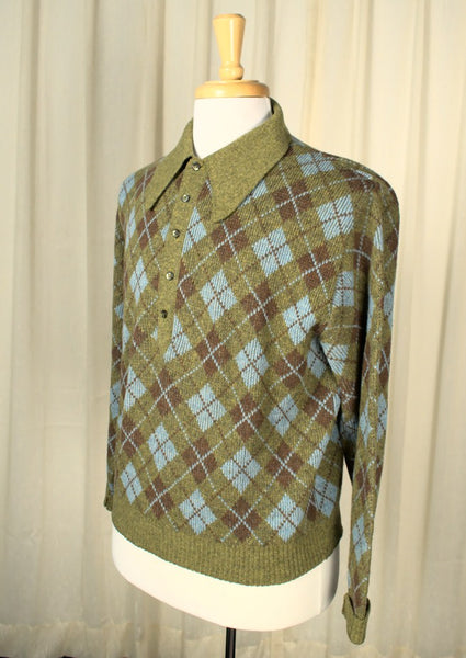 1960s Lime Green Argyle Sweater