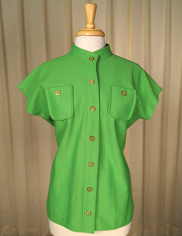 1960s Lime Green Button Top