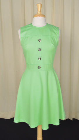 1960s Vintage Lime Green Scooter Dress
