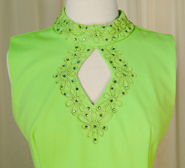 1960s Lime Rhinestone Dress by Vintage Collection by Cats Like Us - Cats Like Us