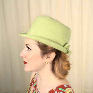 1960s Lime Straw Bowler Hat - Cats Like Us