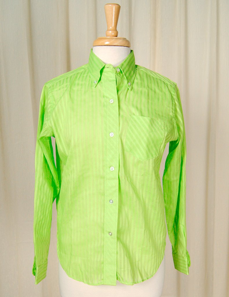 1960s Lime Striped Shirt - Cats Like Us