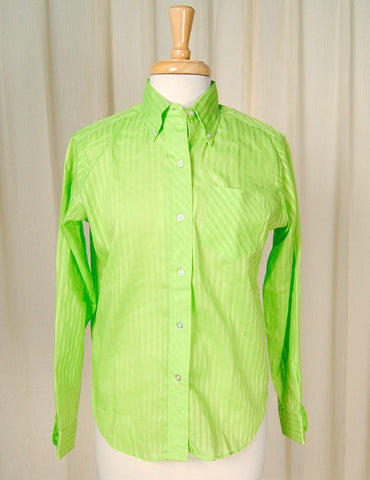 1960s Lime Striped Shirt