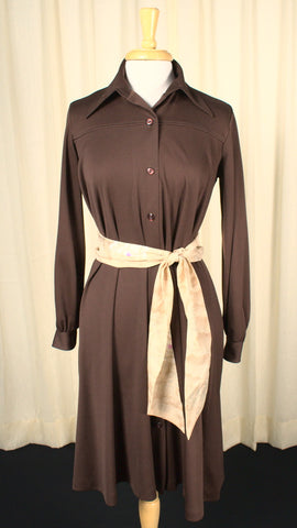 1960s Vintage Long Sleeve Brown Shirt Dress