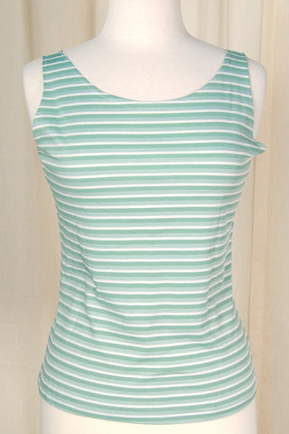 1960s Mint Striped Tank Top - Cats Like Us