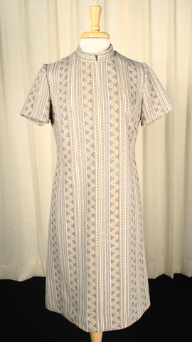 Vintage 1960s Mod Gray & Beige Dress
