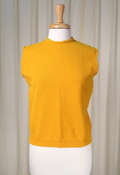 1960s Mustard Knit Shell Top - Cats Like Us