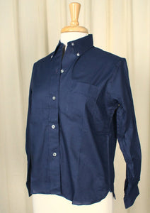 1960s Navy Button Down Shirt - Cats Like Us