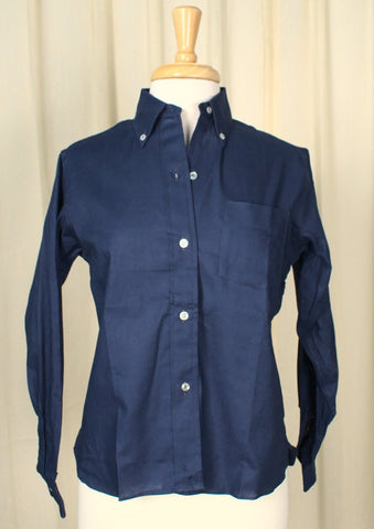1960s Navy Button Down Shirt