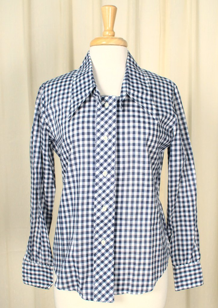 1960s Navy Plaid Shirt - Cats Like Us