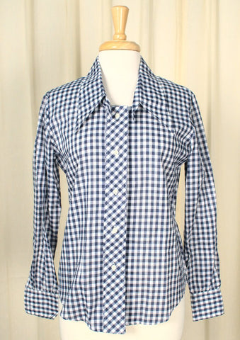 1960s Navy Plaid Shirt