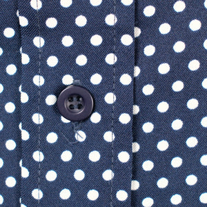 Vintage 1960s Navy Polka Dot Dress
