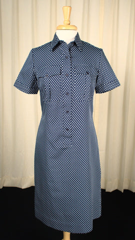 1960s Navy Polka Dot Dress