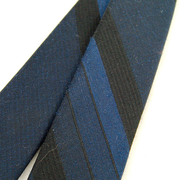 1960s Navy Stripe Skinny Tie by Cats Like Us - Cats Like Us