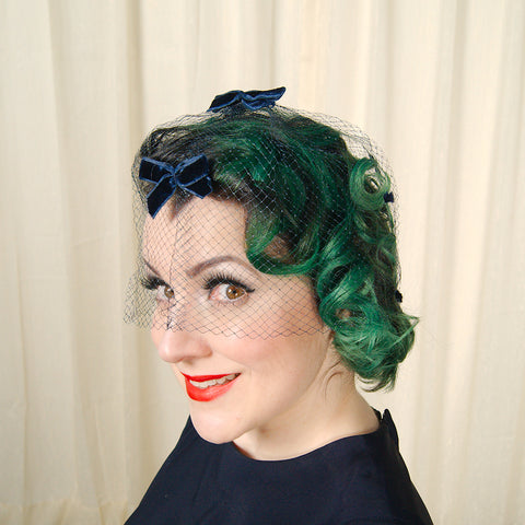 1960s Navy Whimsy Fascinator by Cats Like Us - Cats Like Us