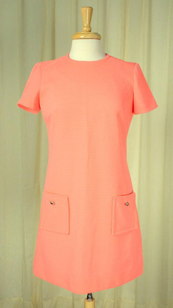 1960s Neon Apricot Shift Dress