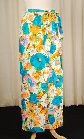 1960s Neon Floral Maxi Skirt - Cats Like Us