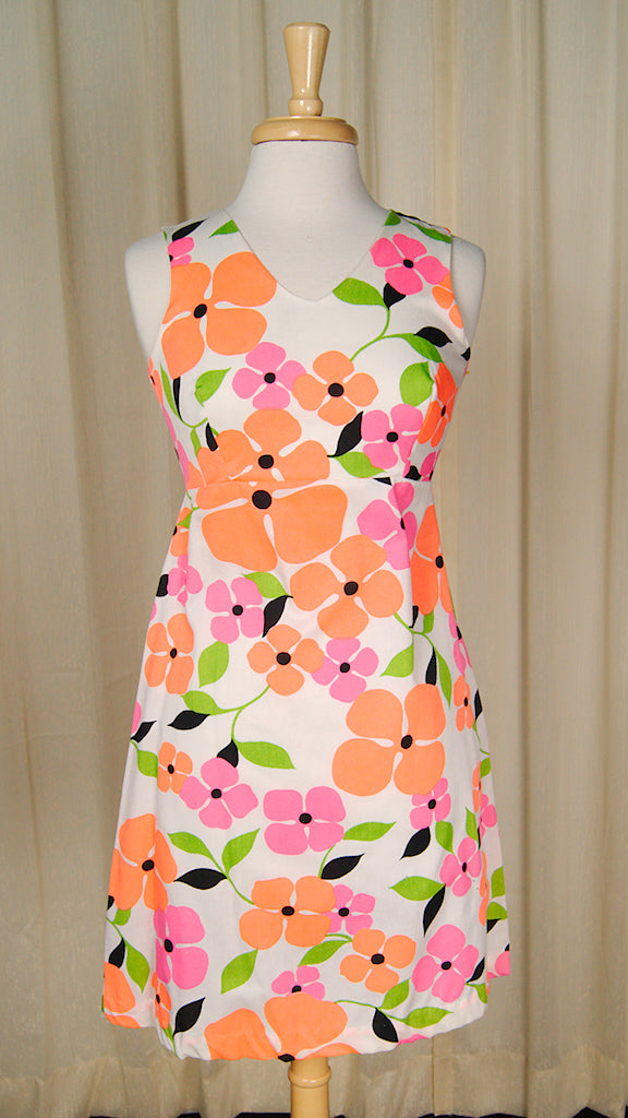 1960s Neon Flower Mini Dress
