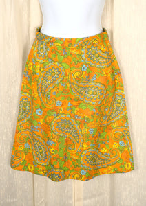 1960s Vintage Neon Orange Paisley Skirt