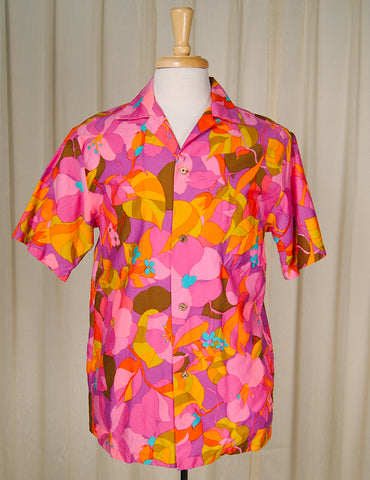 1960s Neon Pink Hawaiian Shirt by Cats Like Us - Cats Like Us