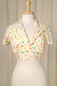 1960s Neon Polka Dot Halter Top - Cats Like Us