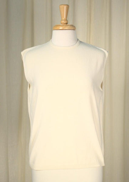 1960s Off White Knit Shell Top