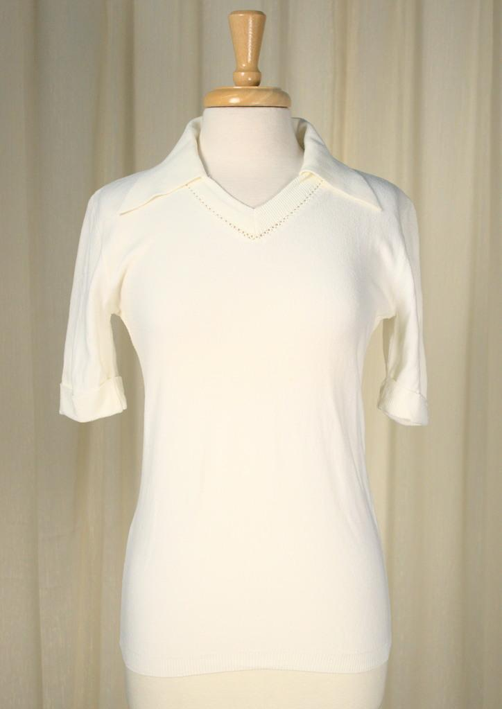 1960s Off White Polo Shirt