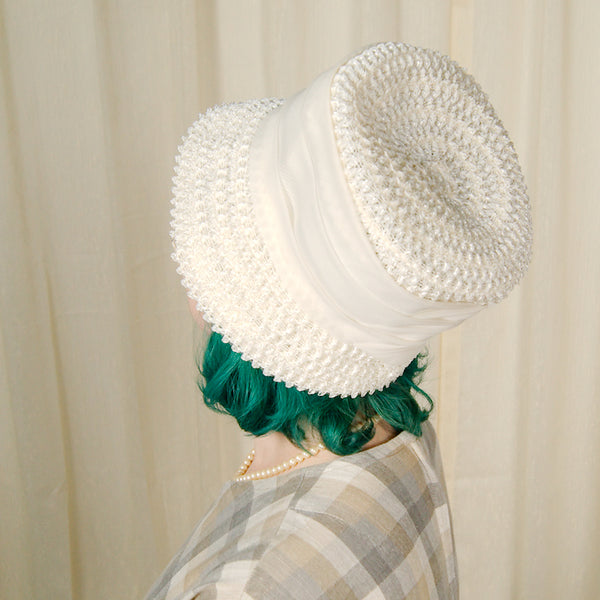 1960s Off White Straw Hat by Cats Like Us - Cats Like Us