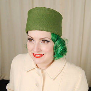 1960s Olive Green Pillbox Hat