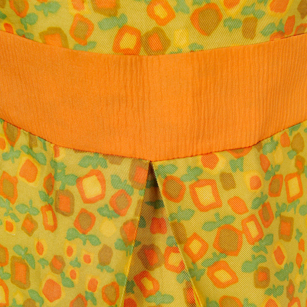 1960s Orange Floral Pleat Dress by Vintage Collection by Cats Like Us - Cats Like Us