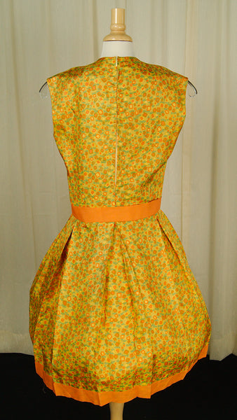 1960s Orange Floral Pleat Dress by Vintage Collection by Cats Like Us : Cats Like Us